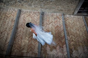 The bride photographed from above as she walks down