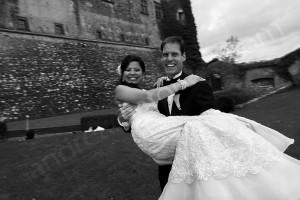 Wedding couple joy and happy