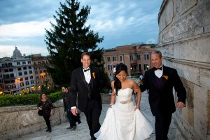 Wedding photography walking up the Spanish steps in Rome Italy