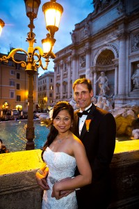 Bride and groom evening photography st the Trevi fountain in Rome Italy