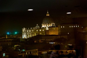 Saint Peter's Basilica seen from roof garden restaurant Les Etoiles in Rome