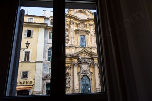 View of Church Chiesa di Santa Maria Maddalena in Rome Italy view from a window