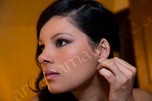 Close up portrait photo of the bride getting ready for a wedding in Rome Italy