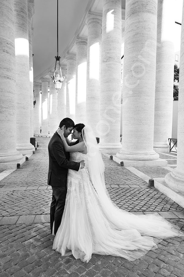 Black and white session at the Vatican Saint Peter's underneath the colonnade