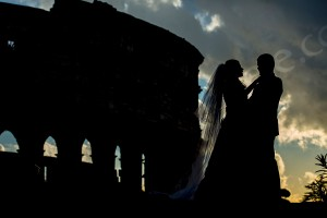 Shilouette couple photographed at the Roman Colosseum in Rome Italy