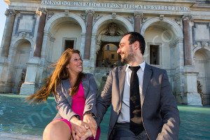 Engagement photographer Rome Italy. Laughing and having a good time during a photo shoot in Rome Italy