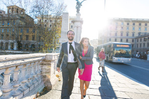 Walking together in a winter cold Rome