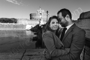B&w photo session in Rome at Castello Sant'Angelo