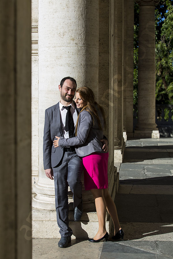 Romantically leaning close to one another photographer session Rome
