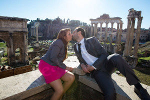 Kissing at the Roman Forum in Rome