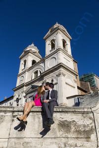 Kissing at trinita' dei Monti in Rome
