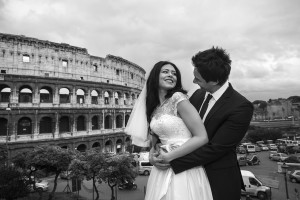 Black and white wedding photography Colosseum Rome Italy