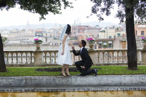 The wedding proposal in Rome Italy Campidoglio