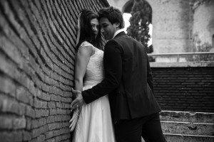 Bride and groom close to one another during a photo shoot in Rome