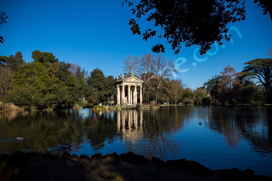 Temple artificial lake laghetto artificiale Villa Borghese Rome Italy