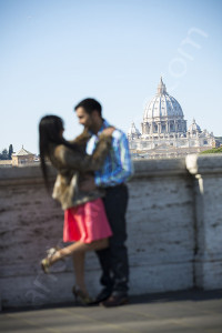 Professional photographer session on Ponte Umberto I in Rome Italy out of focus version