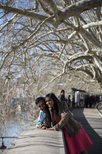 Couple engaged photographed on Lungo Tevere in Rome Italy