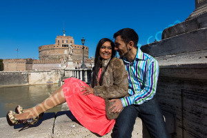 Couple photographed sitting in front of Castel Sant'Angelo in Rome Italy