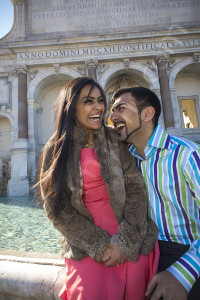 Laughing and having fun at Fontana del Gianicolo in Rome Italy