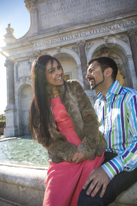 Laughing and having a good time at Fontana del Gianicolo in Rome Italy