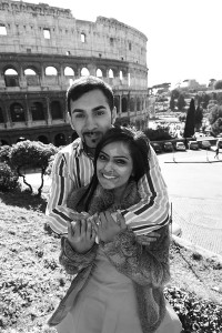 Engaged couple photography at the Roman Colosseum in Rome Italy