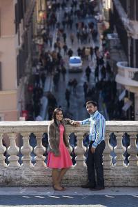 Portrait picture taken of a couple on the terrace of Trinita' dei Monti in Rome Italy