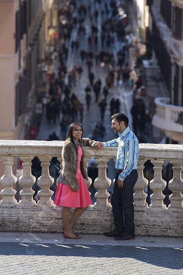 Photo tour picture taken of a couple on the terrace of Trinita' dei Monti in Rome Italy
