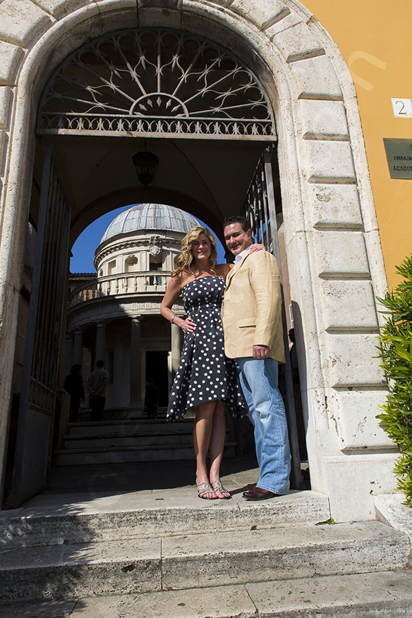 Wedding anniversary photography. Couple standing in front of Accademia de Espagna. Rome Italy.