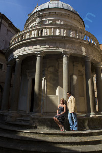 Anniversary couple photographed inside Chiostro Accademia di Spagna in Rome Italy during a photo tour