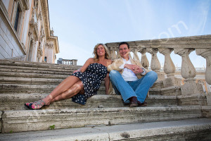 Sitting down on the steps in Piazza del Campidoglio in Rome Italy