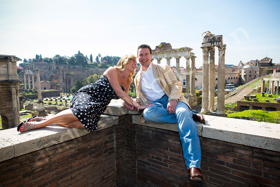Couple having fun at the Roman Forum in Rome Italy
