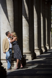 Photographed underneath the columns in Piazza del Campidoglio in Rome Italy