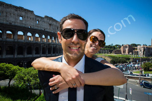 Portrait picture of a wedding couple in Rome
