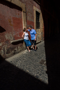 Picture shot through the alley streets of Rome Italy