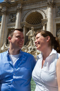 Couple photography at the Trevi fountain in Rome Italy