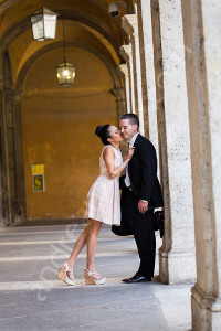Engagement couple posing for a photographer at San Ivo alla Sapienza in Rome Italy