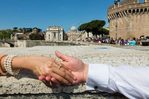 The engagement ring photographed in Rome Italy