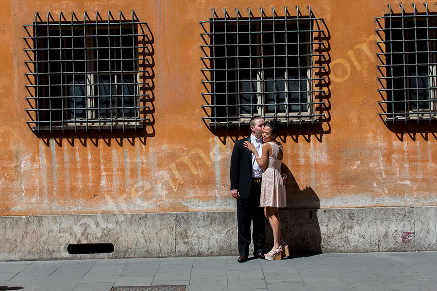 Couple intimate in the streets of Rome