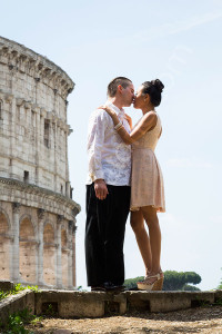 Coupe kissing during their engagement photo session in Rome Italy