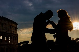 Engagement photography session at sunset in Rome Italy