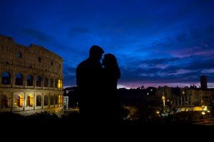 Engagement photo session at night at the Colosseum in Rome Italy
