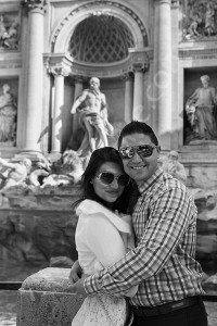 Engagement photo session in black and white Rome