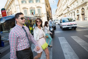 Crossing the street going to Piazza di Spagna in Rome