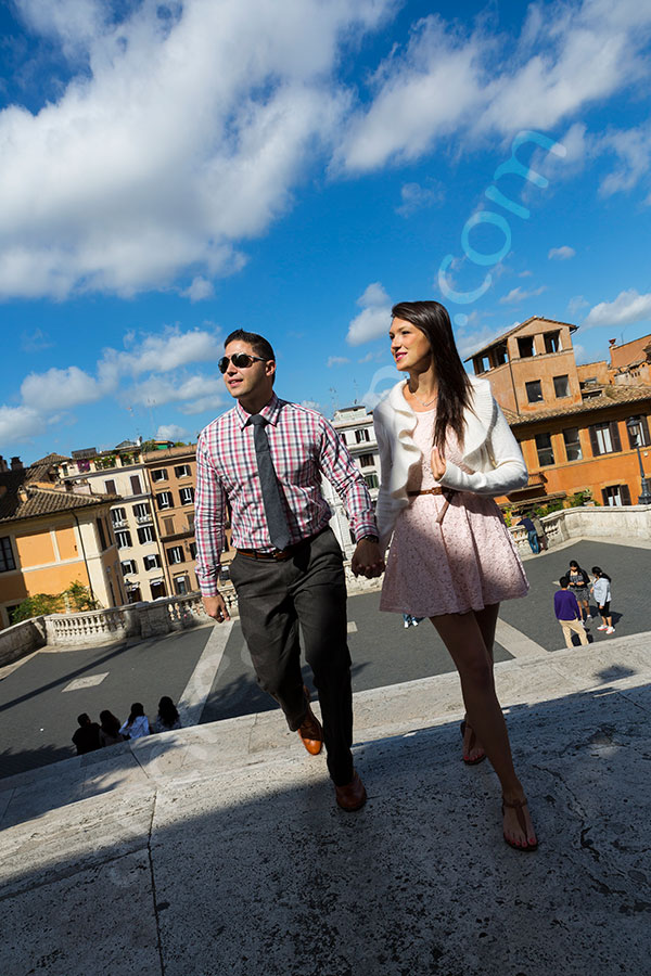 Walking up the Spanish steps to Trinita' dei Monti