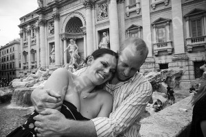 Together at the Trevi fountain in Rome black and white picture