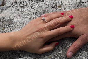 Couple just engaged hand picture with ring