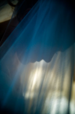 Bride with wedding veil against the light.