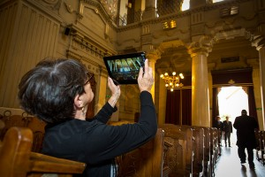 Photographer ipad guest taking a picture of the inside of the Great Synagogue in Rome