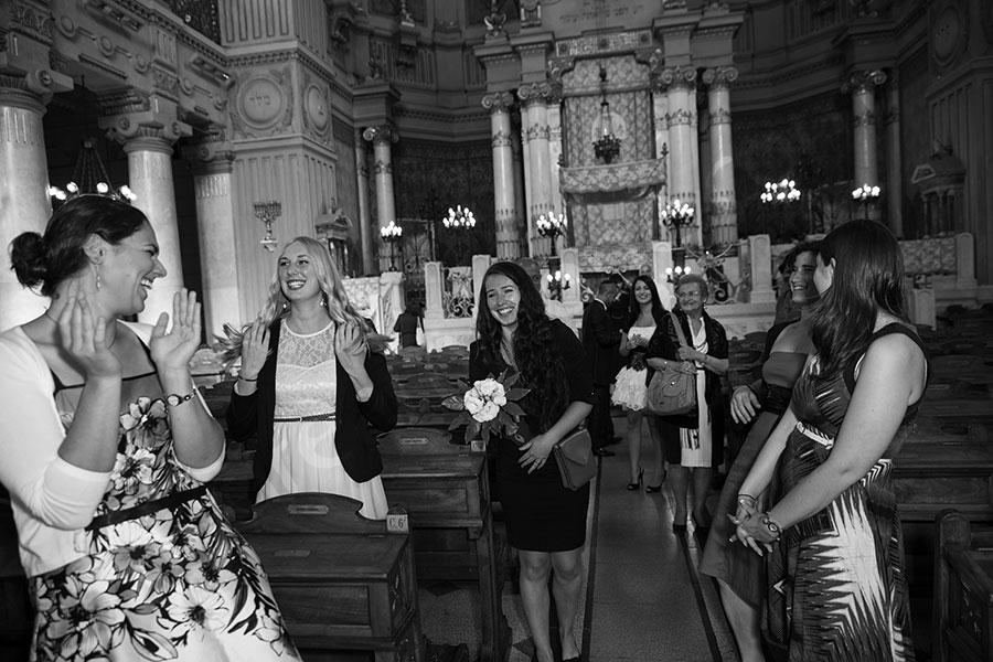 Bride's maids catch the bouquet