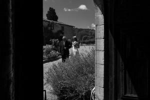 Wedding bride approaching Church